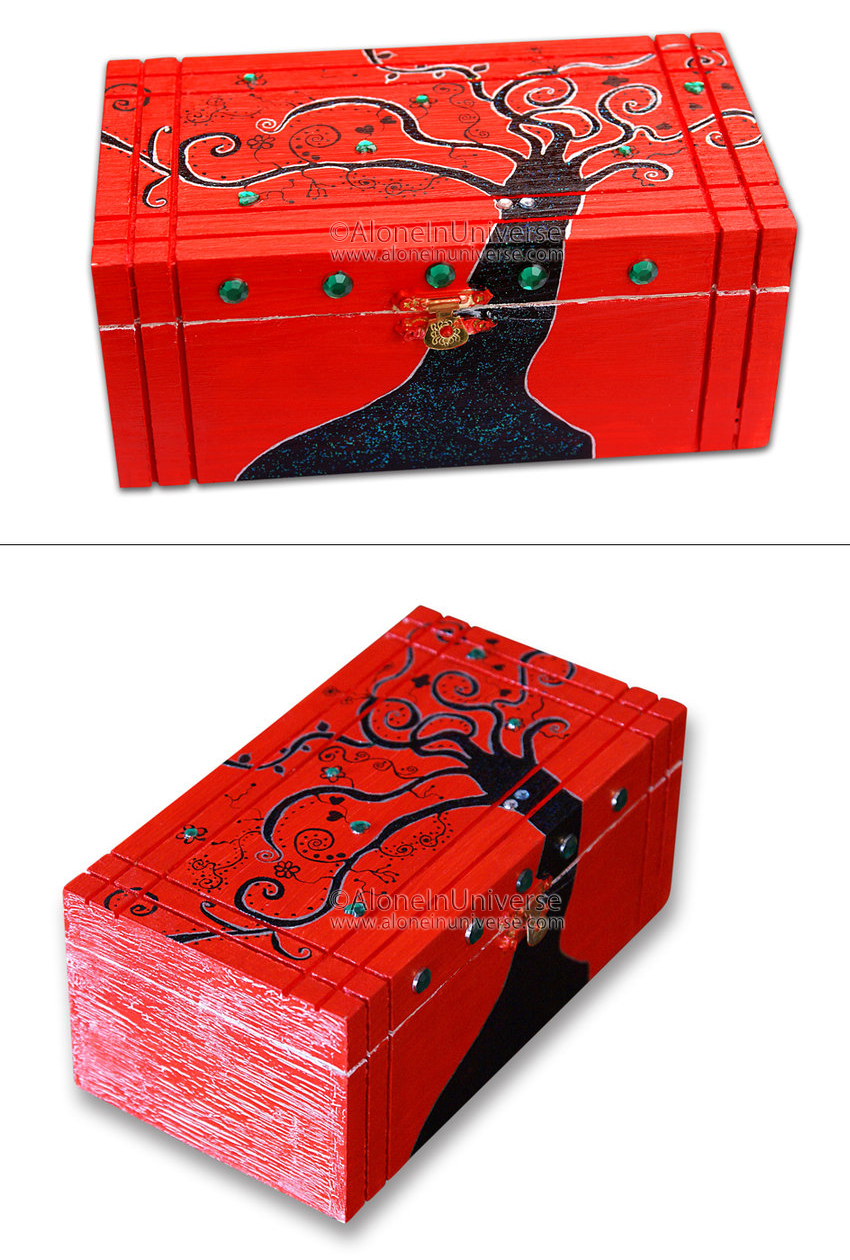 Painted jewelry box Alone in Universe