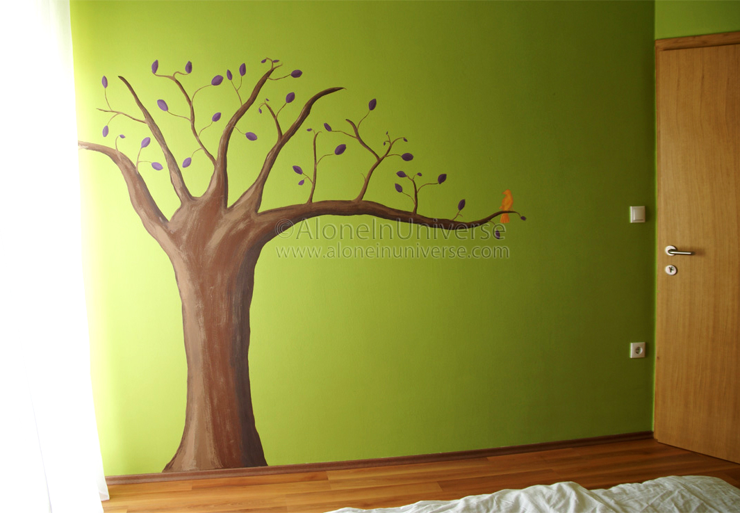 Painted Walls Prepossessing With Trees Painted On Bedroom Wall Image